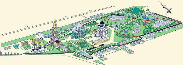 карта монастыря в Дивеево