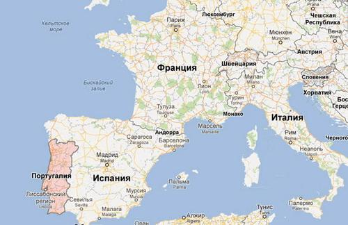 Португалия на карте