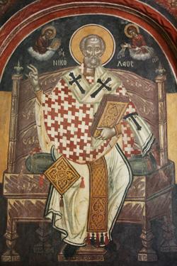 Икона Николая Чудотворца, лик и руки которого вышиты из волос