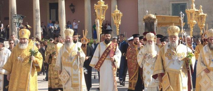 Корфу. Крестный ход с мощами св.Спиридона Тримифунтского