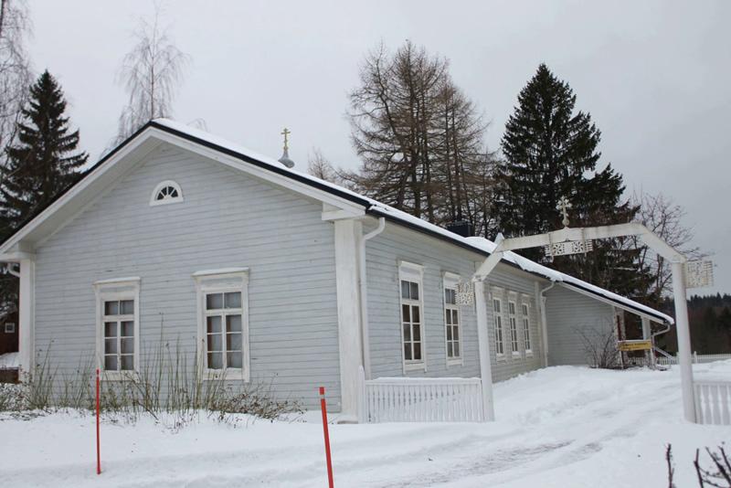 Первый Храм, построенный монахами, пришедшими с Валаама.  Освящен в честь всех Валаамских святых. Новый Валаам. Финляндия